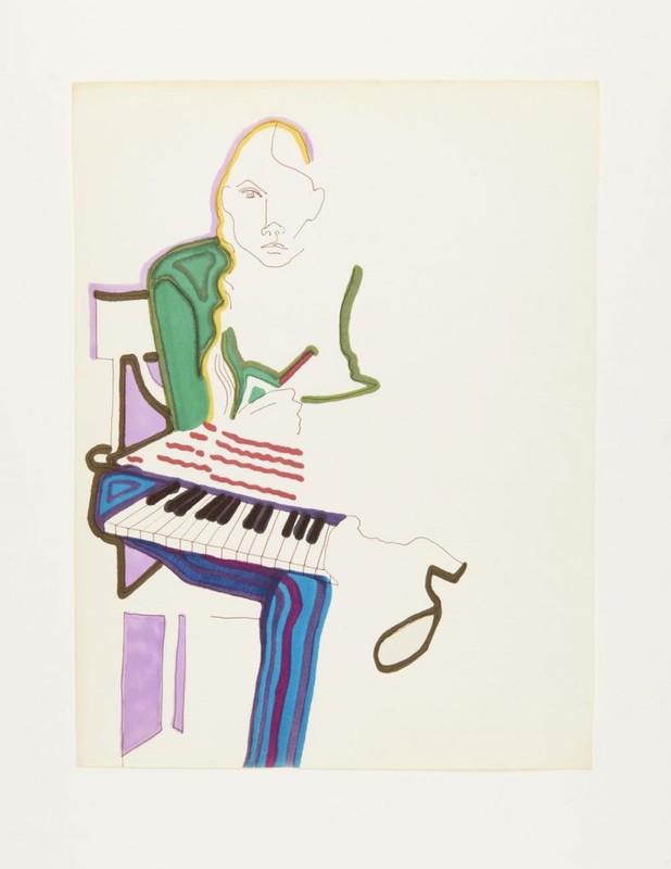 Une illustration à l'encre et aux stylos marqueurs qui dépeint une femme avec un clavier et un cahier.