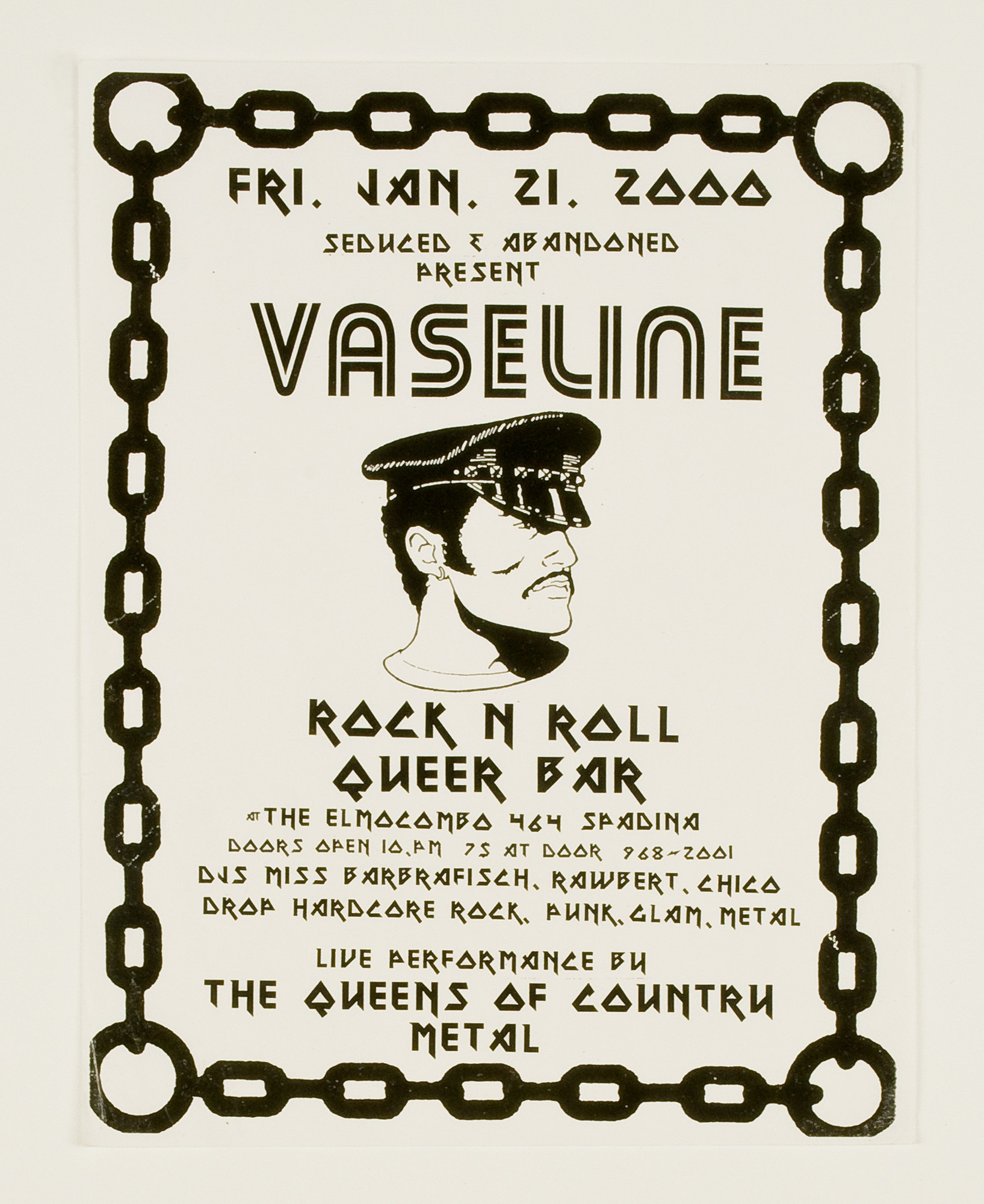 Black and white poster advertising queer rock dance party with cartoon of a man's head wearing a hat and a mustache in the middle surrounded by event information text and a chain link border.