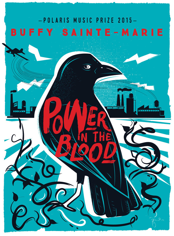 "Poster of a black bird in the centre with a skyline of factories in the background and a plane at the top left. Across the bird's back are the words ""Power in the Blood"""