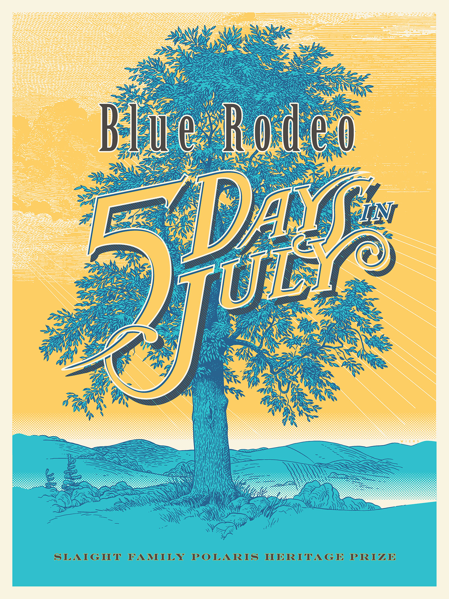 "Illustrated poster showing a blue, leafy tree in the centre. The sky is bright yellow. The words ""Blue Rodeo 5 Days in July"" are written across the centre."