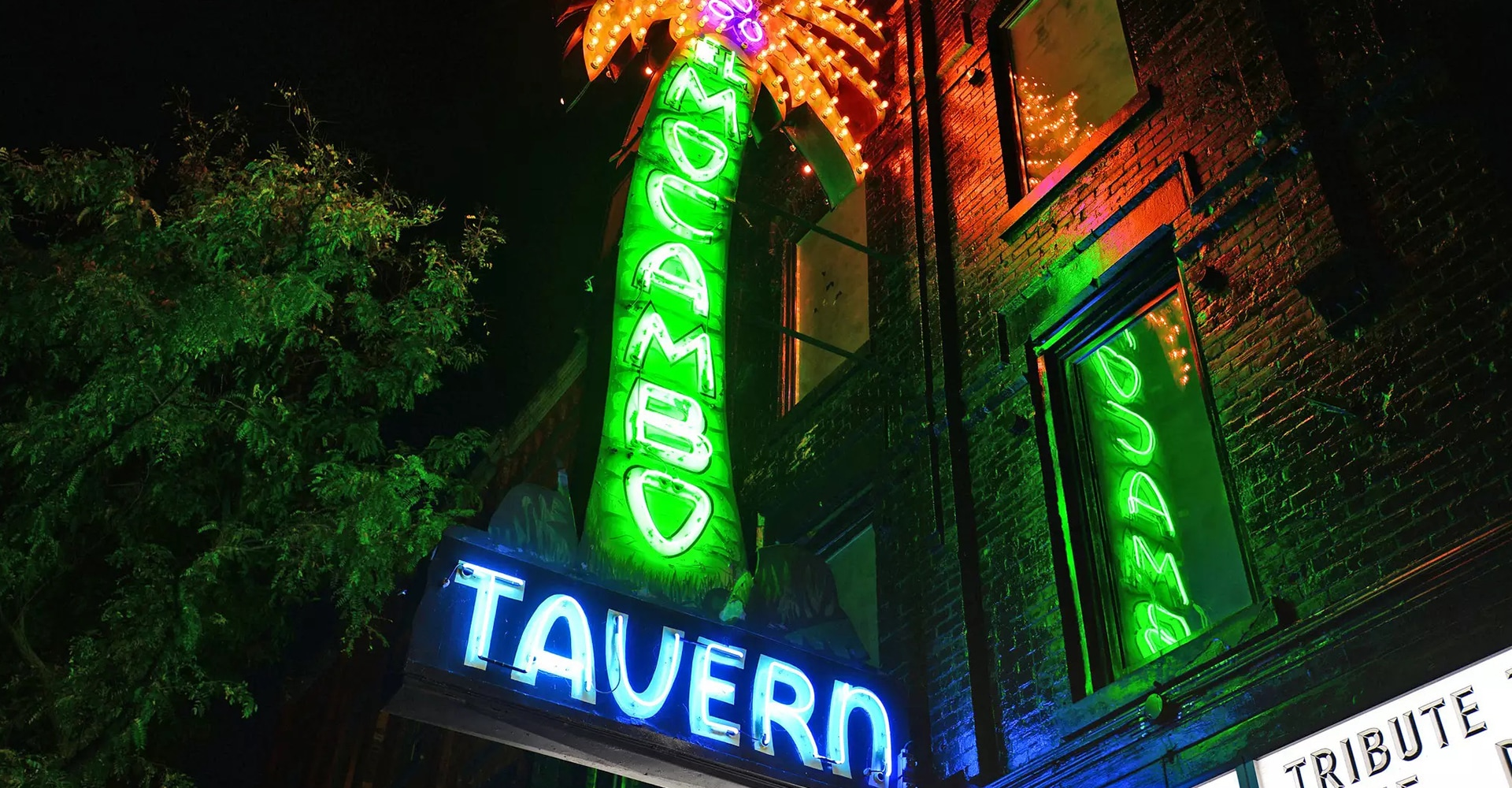 "Exterior of a building with a neon sign shaped like a palm tree with the words ""El Mocambo Tavern"" written in neon."