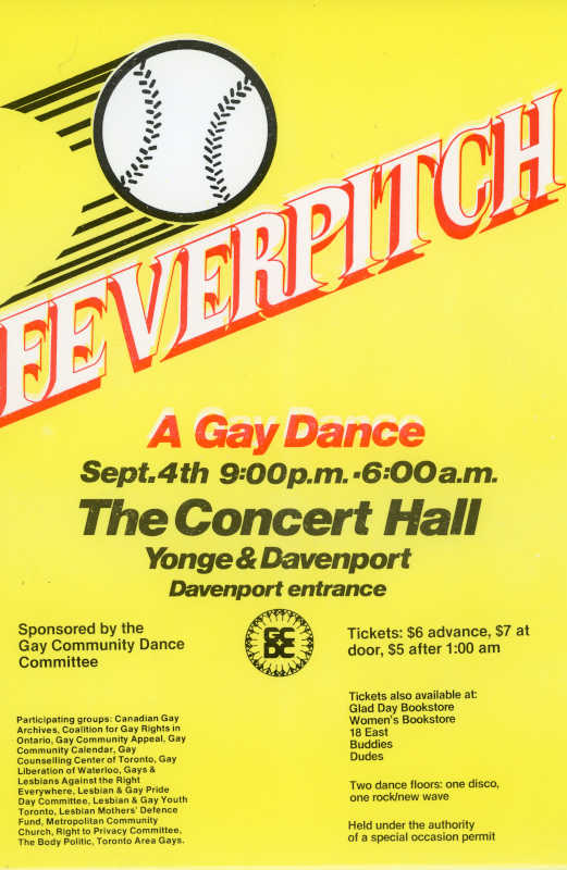 """Poster with a yellow background and baseball moving across the top. Below the baseball are the words """"Feverpitch"""" and a description of the event"""