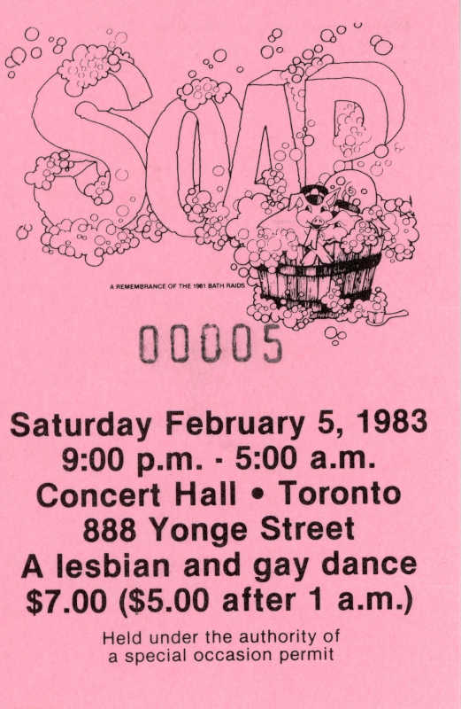 """Pink ticket stub with a drawing of a pig dressed as a police officer, in a bathtub full of bubbles. The bubbles are covering the word """"soap"""". Details about the dance party are written below."""