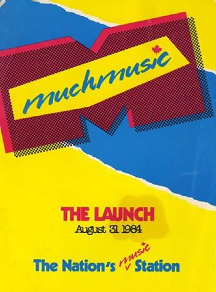 "A graphic poster in neon yellow, blue, and pink advertising the launch of Muchmusic. There is a big letter M in the middle with the word ""Muchmusic"" across it."