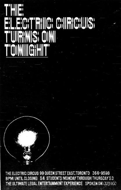 "A poster with a completely black background and a white light bulb in the lower left corner. At the top of the poster are the words ""The Electric Circus turns on tonight"" (The Electric Circus turns on tonight)."