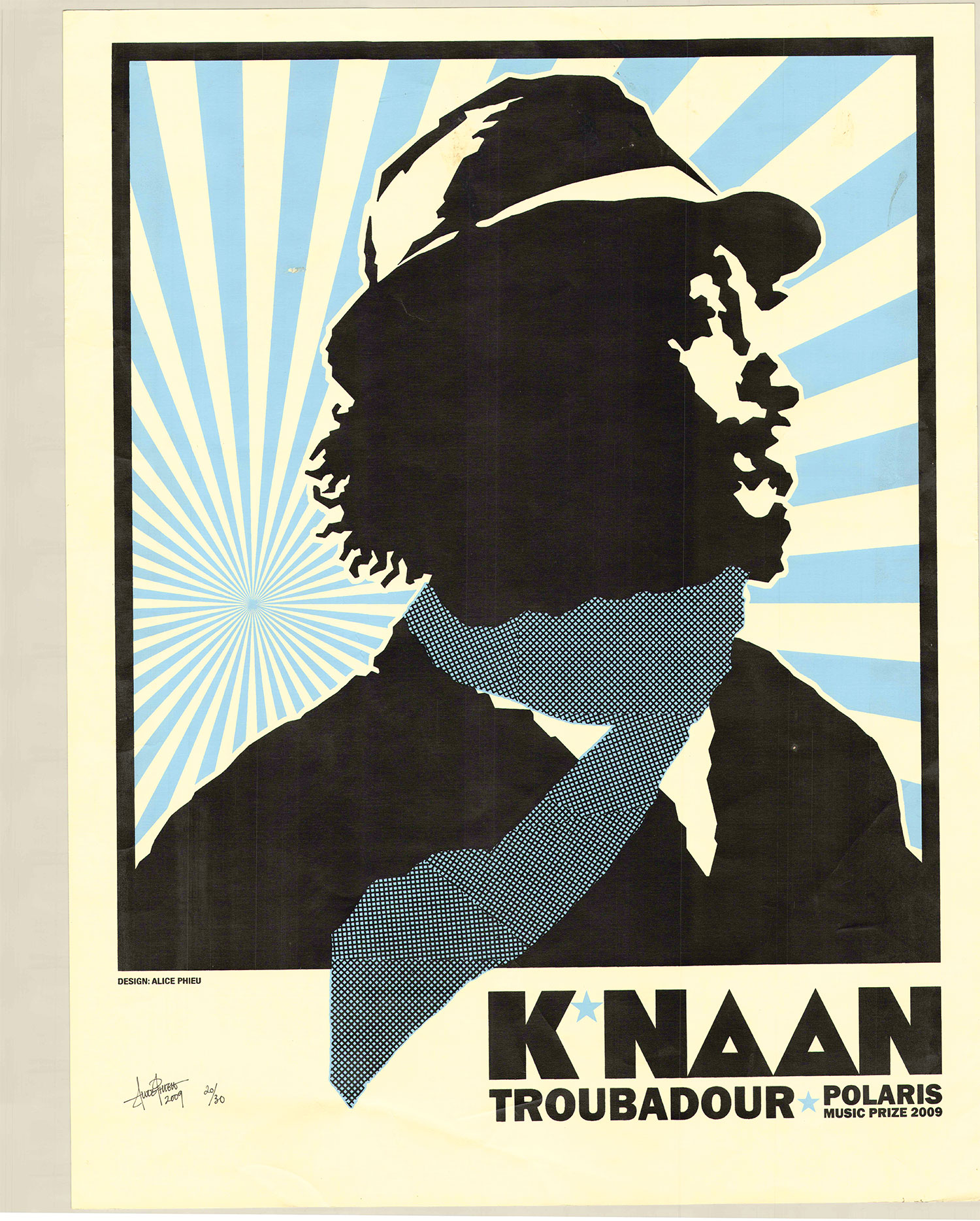 Blockprint silhouette illustration of a man wearing a hat and scarf with colourful beams of light shining behind him.