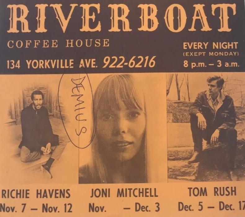 Une affiche qui présente trois musiciens devant jouer au Riverboat Coffee House durant les mois d'octobre, de novembre et de décembre.
