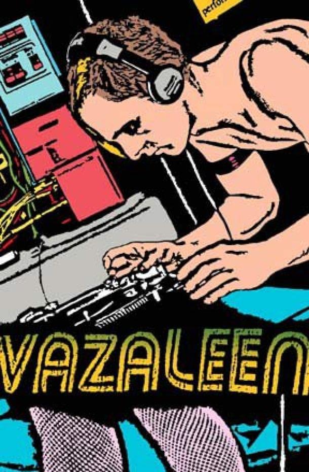 Illustration d'un homme torse nu penché sur une table tournante. La moitié inférieure de l'illustration présente un bas résille sur une paire de jambes.