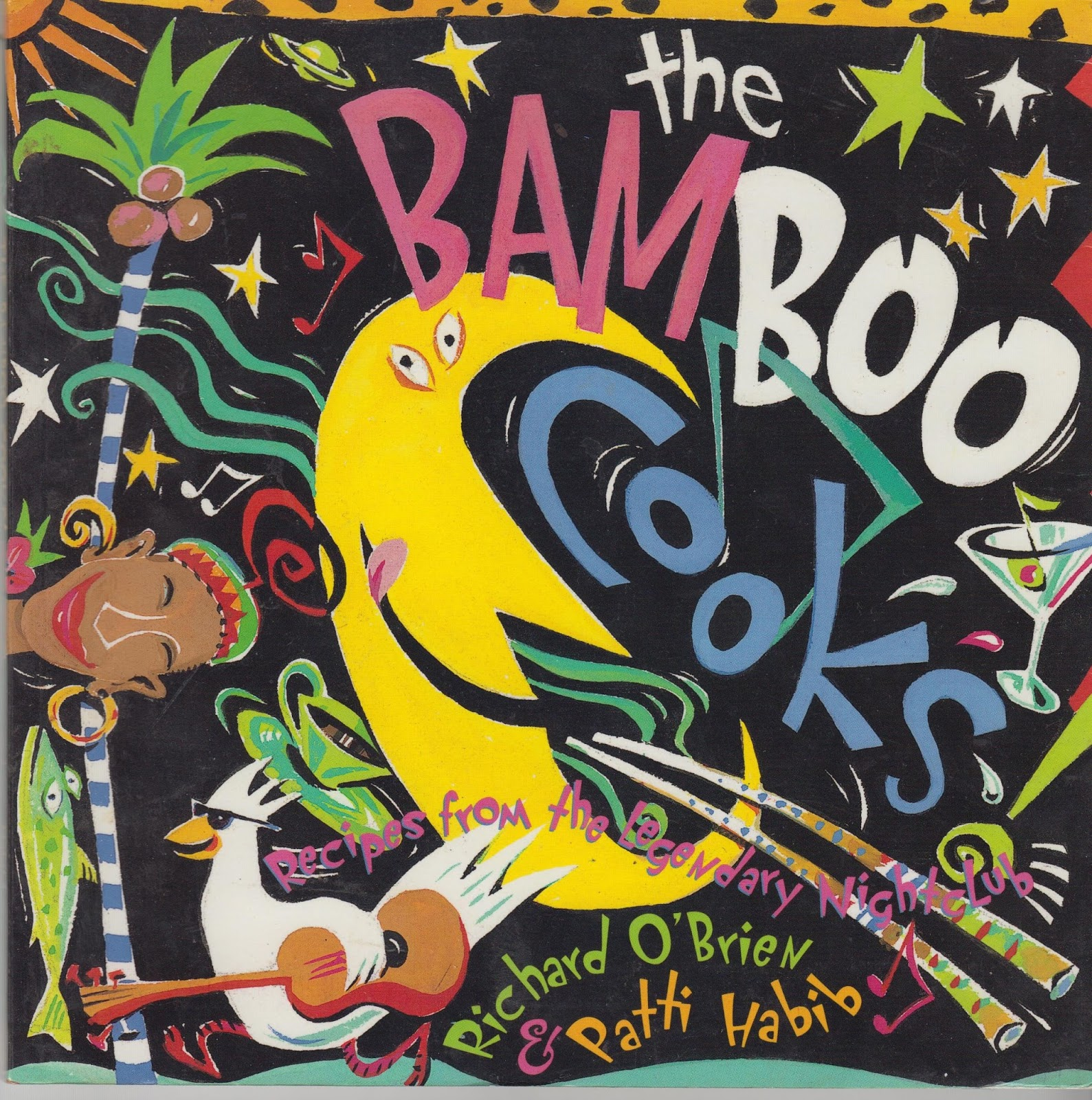"Cover image for the BamBoo cookbook featuring a colourful illustration and the words ""The Bamboo Cooks! Recipes from the Legendary Nightclub"""