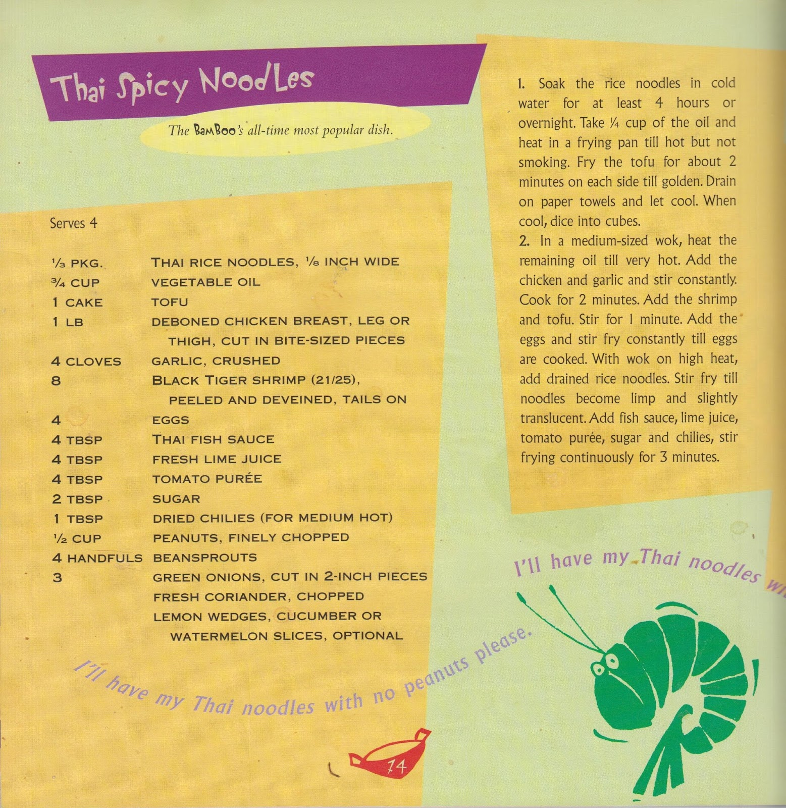 A colourful page featuring the recipe for the BamBoo's dish, Thai Spicy Noodles, including an ingredients list and method for cooking.