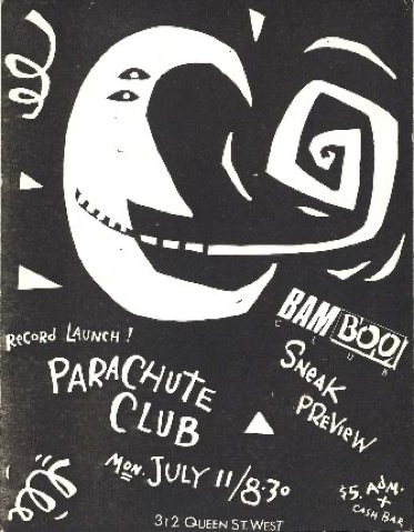 A black and white poster advertising the record launch and sneak preview of the Parachute Club's album to be held on Monday, July 11, 1983. Admission is listed at $5 along with a cash bar.