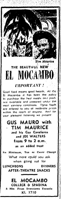 A black and white newspaper ad advertises live music at the El Mocambo tavern.