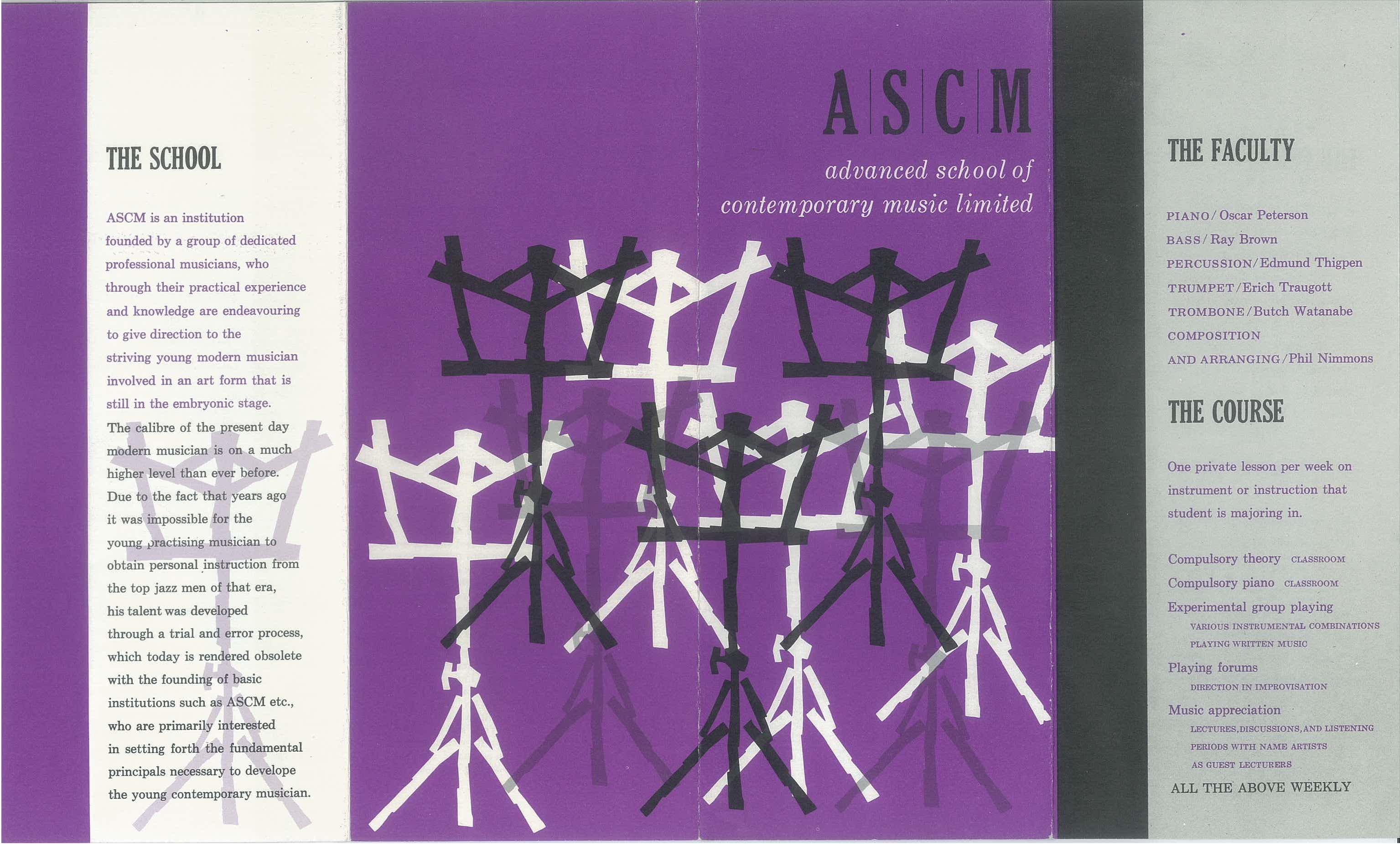 A purple, white, and black brochure for Oscar Peterson's Advanced School of Contemporary Music Limited