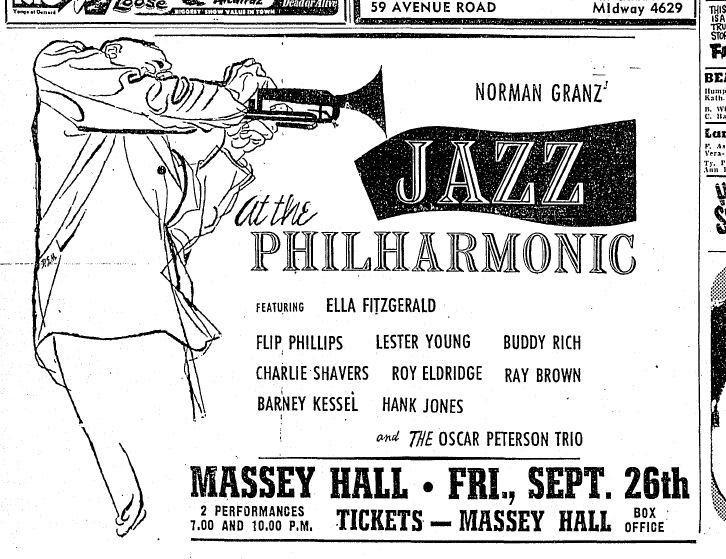 Une publicité en noir et blanc dans un journal avec une illustration d'un homme jouant de la trompette. La publicité annonce les concerts de Jazz at the Philharmonic au Massey Hall.