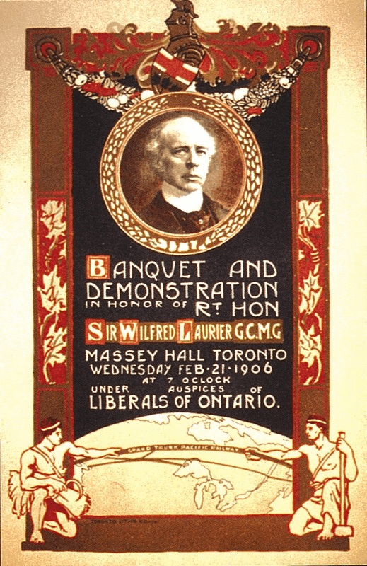 A colourful poster with a man's portrait in the middle and a globe at the bottom, advertising a banquet for Sir Wilfred Laurier GCMG at Massey Hall on Wednesday February 21, 1906, hosted by the Liberals of Ontario.
