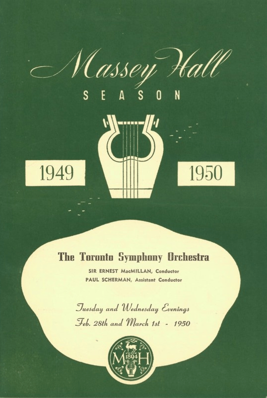 """A green and white program cover titled the """"Massey Hall Season"""" for 1949-1950, featuring the Toronto Symphony Orchestra."""
