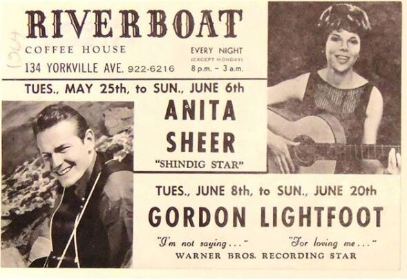 """A yellowing poster for the Riverboat Coffee House advertising Anita Sheer called the """"Shindig Star"""" and Gordon Lightfoot. The poster features two photos: one of Anita Sheer holding a guitar, the other of Gordon Lightfoot who is standing and smiling at the camera also holding a guitar."""