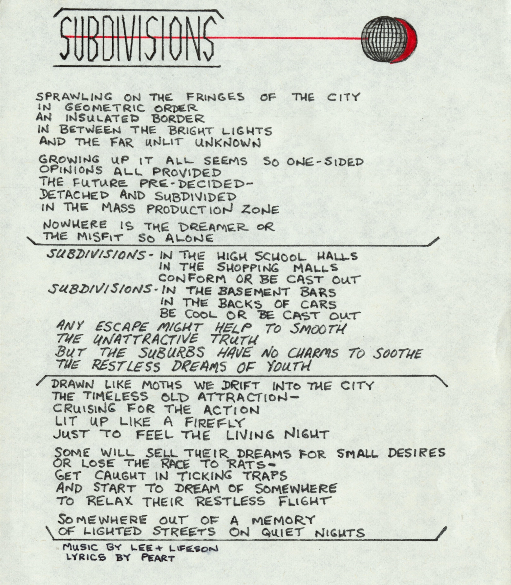 "A page of handwritten lyrics to the Rush song ""Subdivisions"""