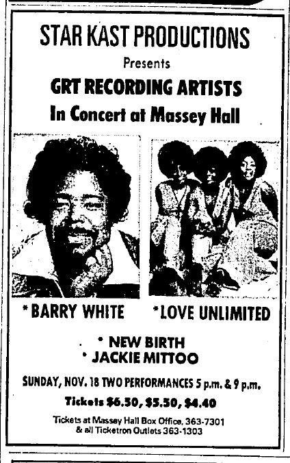 A newspaper advertisement for an upcoming concert at Massey Hall, featuring the headliners of Barry White and the band Love Unlimited. Jackie Mittoo is mentioned as a supporting act, along with the band New Birth.