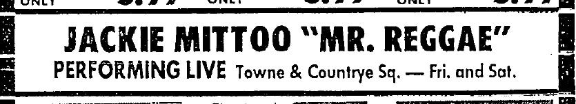 """A newspaper advertisement for a Jackie Mittoo performance, advertised as """"Mr. Reggae""""."""
