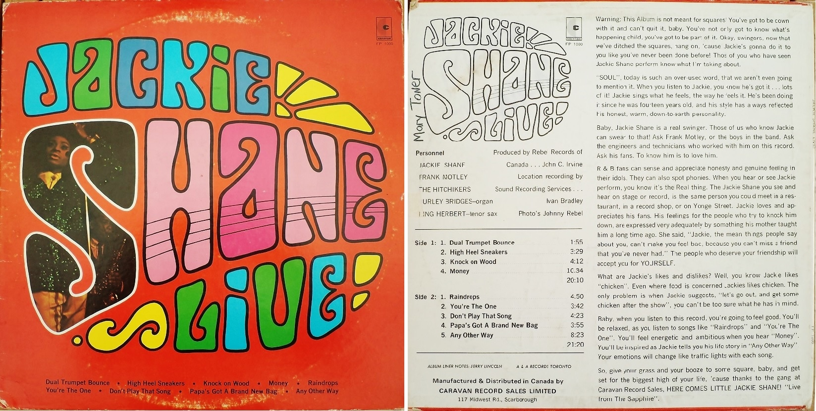 An album cover of Jackie Shane' s 1967 album. On the left is written in colourful font, Jackie Shane Live