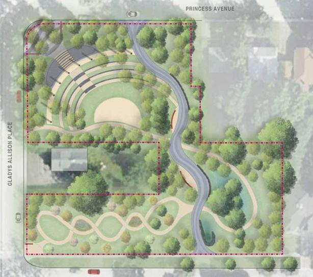 An illustration featuring a bird's eye view of the Lee Lifeson Art Park, including an amphitheatre and winding paths.
