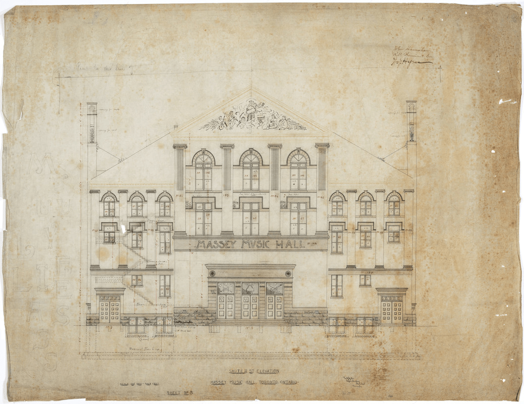 An architectural schematic of Massey Hall, shown from the perspective of ground level, facing the front of the building on Shuter Street.