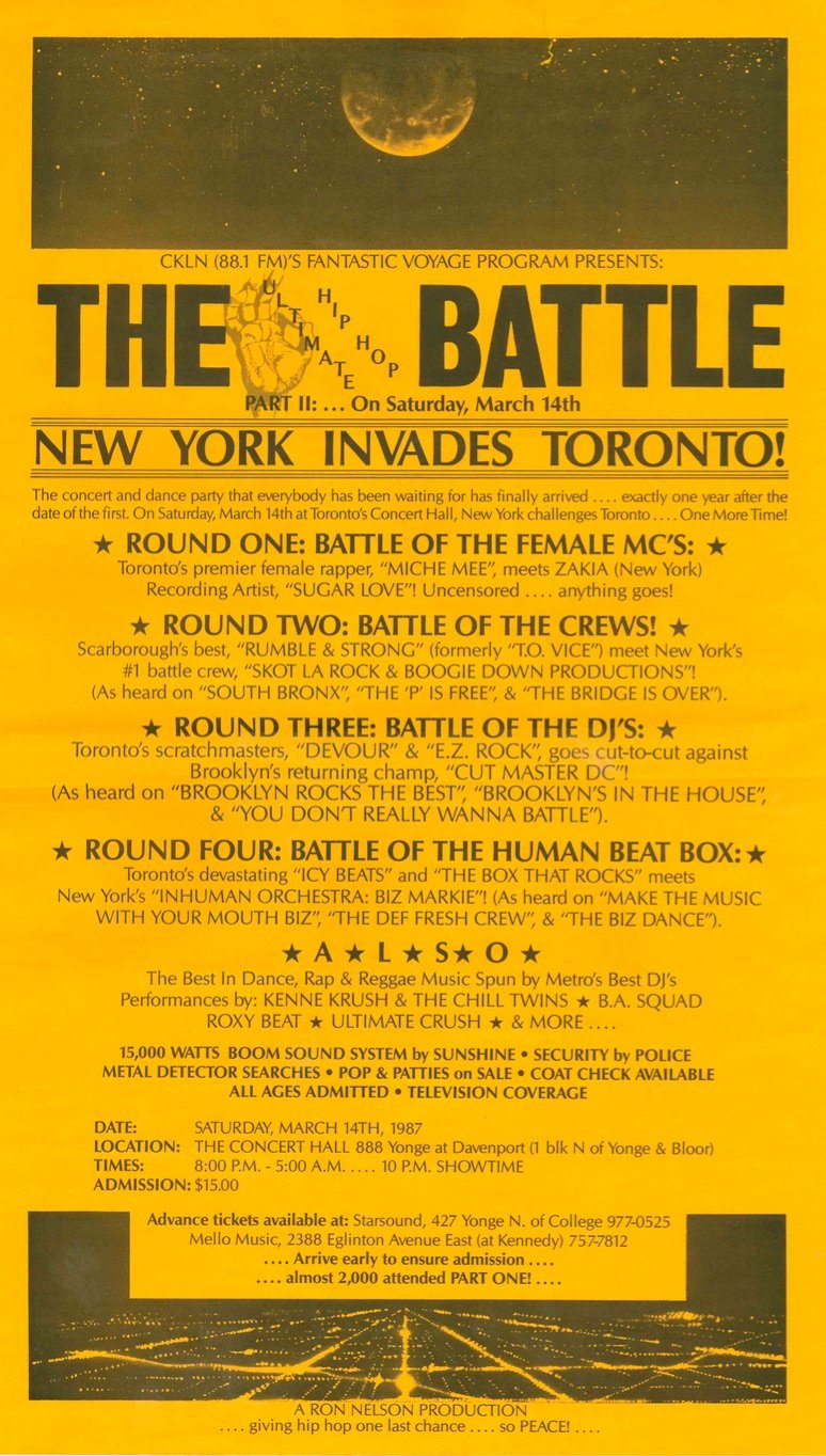 "A yellow and black poster announcing ""The Battle: New York Invades Toronto"" listing a series of rap competitions between various artists."