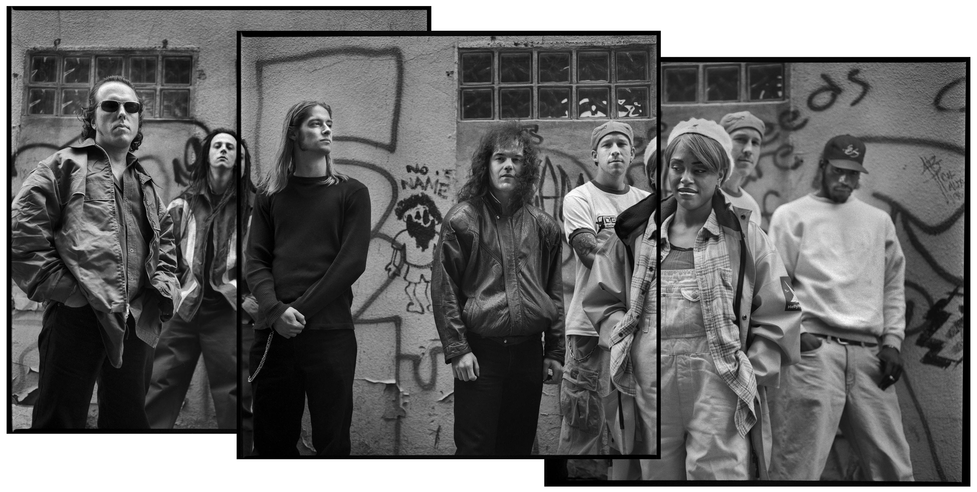 A collage of three black and white photos of seven men and a woman. They are standing in front a building covered with graffiti and with glass-block windows. The woman stands closest to the camera wearing overalls and an open jacket. The men are in casual clothing, with jackets and sweatshirts.