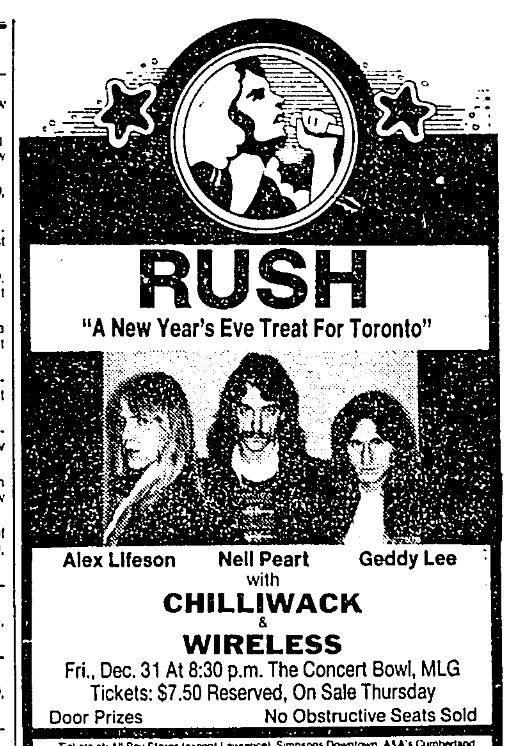 A newspaper advertisement advertising a New Year's Eve concert at the Concert Bowl at Maple Leaf Gardens. The ad includes images of all three members of Rush.