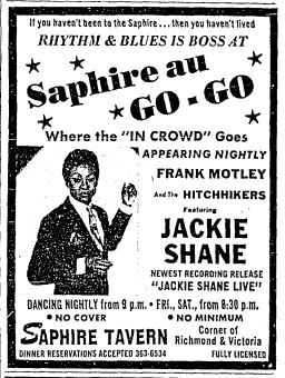 A newspaper ad featuring Jackie Shane performing at the Saphire Tavern as part of the Saphire Au Go-Go event