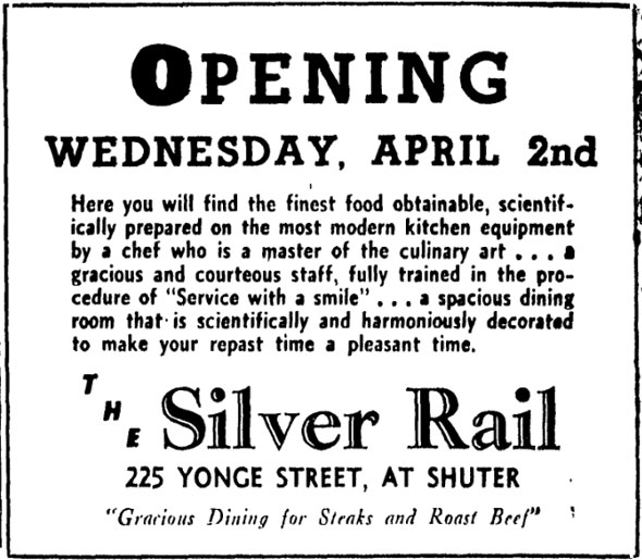 A black and white newspaper advertisement announcing the opening of the Silver Rail on Wednesday, April 2. The description advertises a masterful chef to prepare meals with the latest modern kitchen equipment.