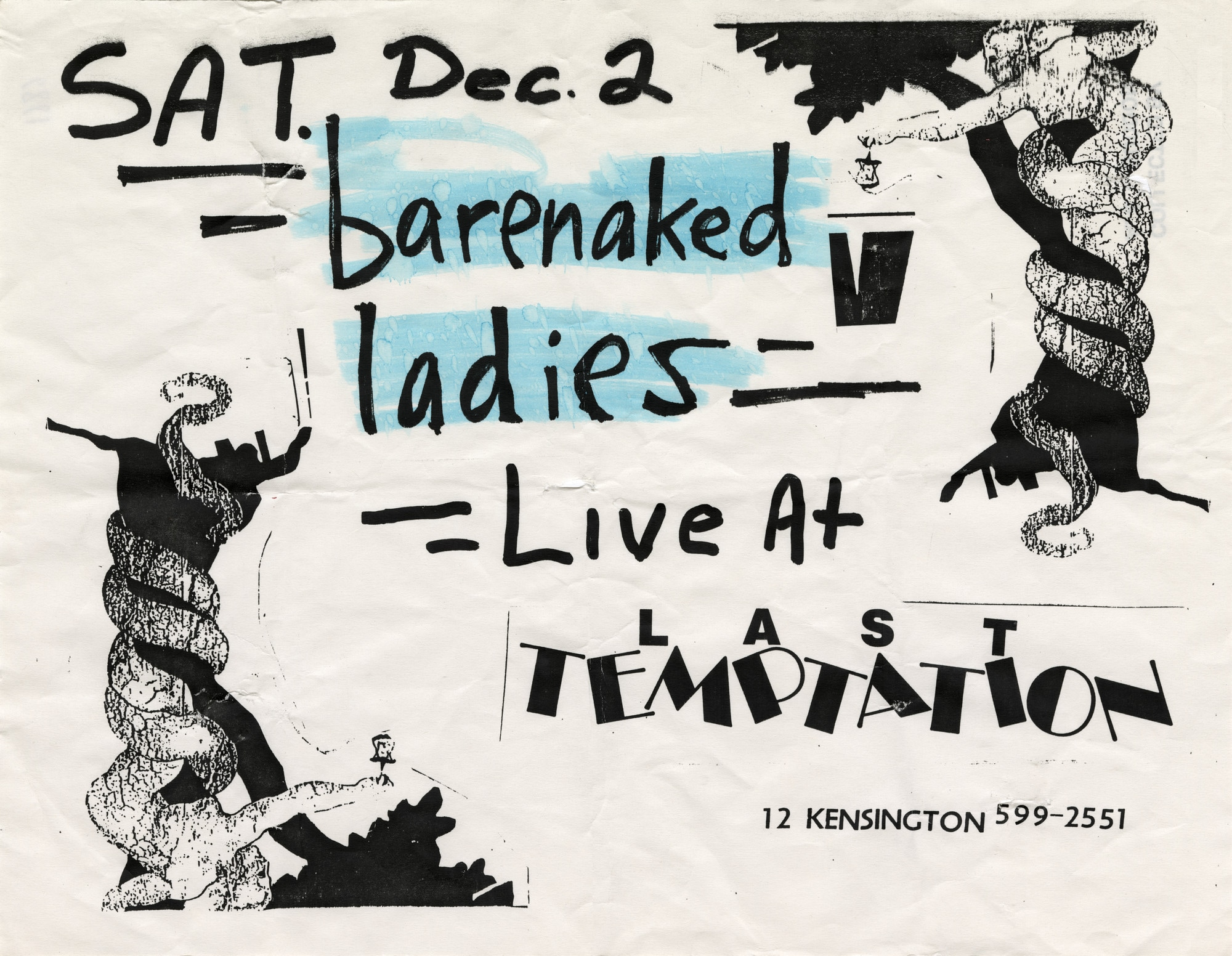 """A black and white poster with the words """"Sat. Dec. 2 Barenaked Ladies Live at Last Temptation, 12 Kensington"""". The words """"Barenaked Ladies"""" are highlighted in blue."""