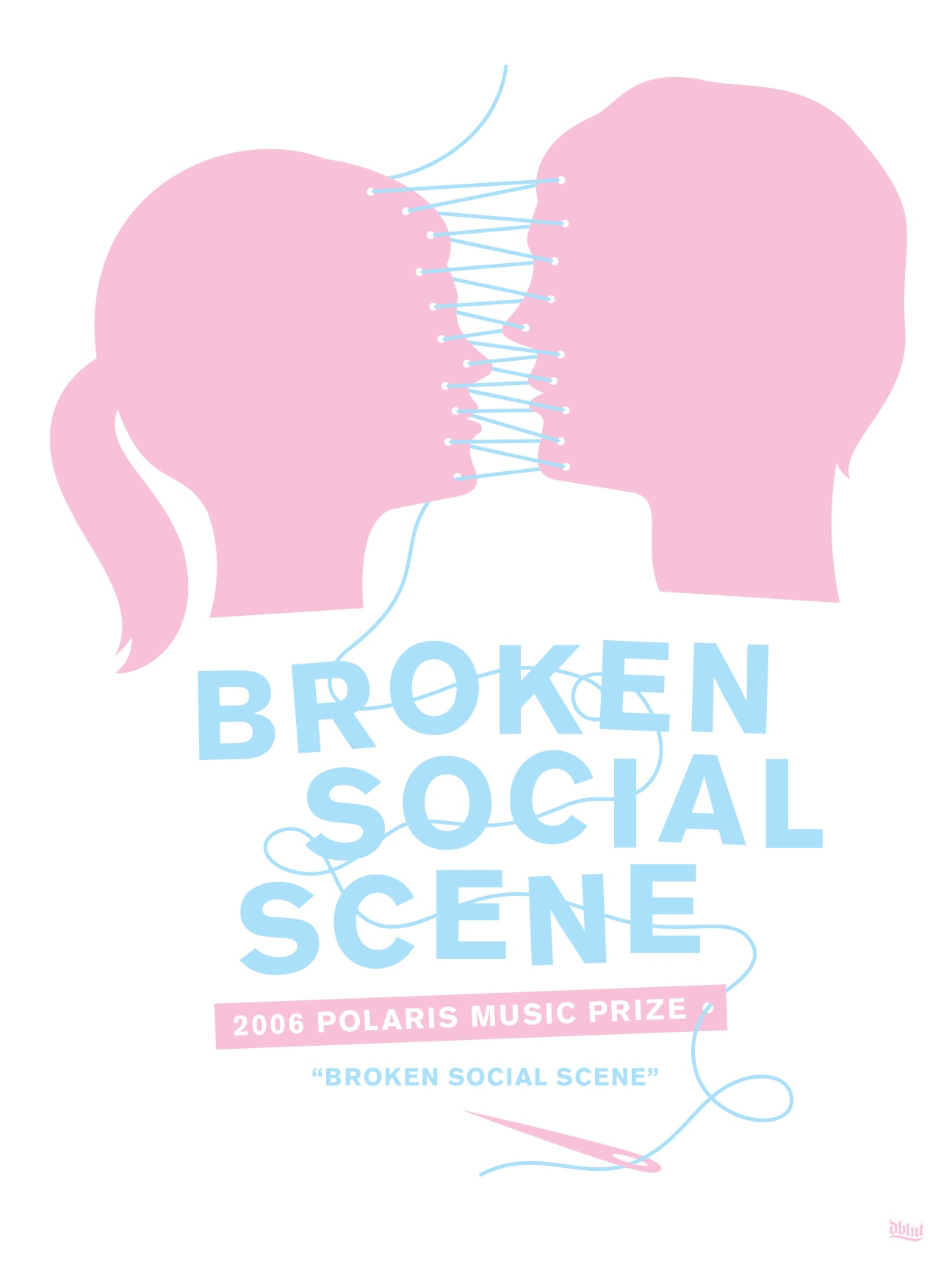"""An illustrated poster featuring two light pink profiles of individuals that face each other. Blue string threads them together. Underneath, """"Broken Social Scene"""" is written in blue."""