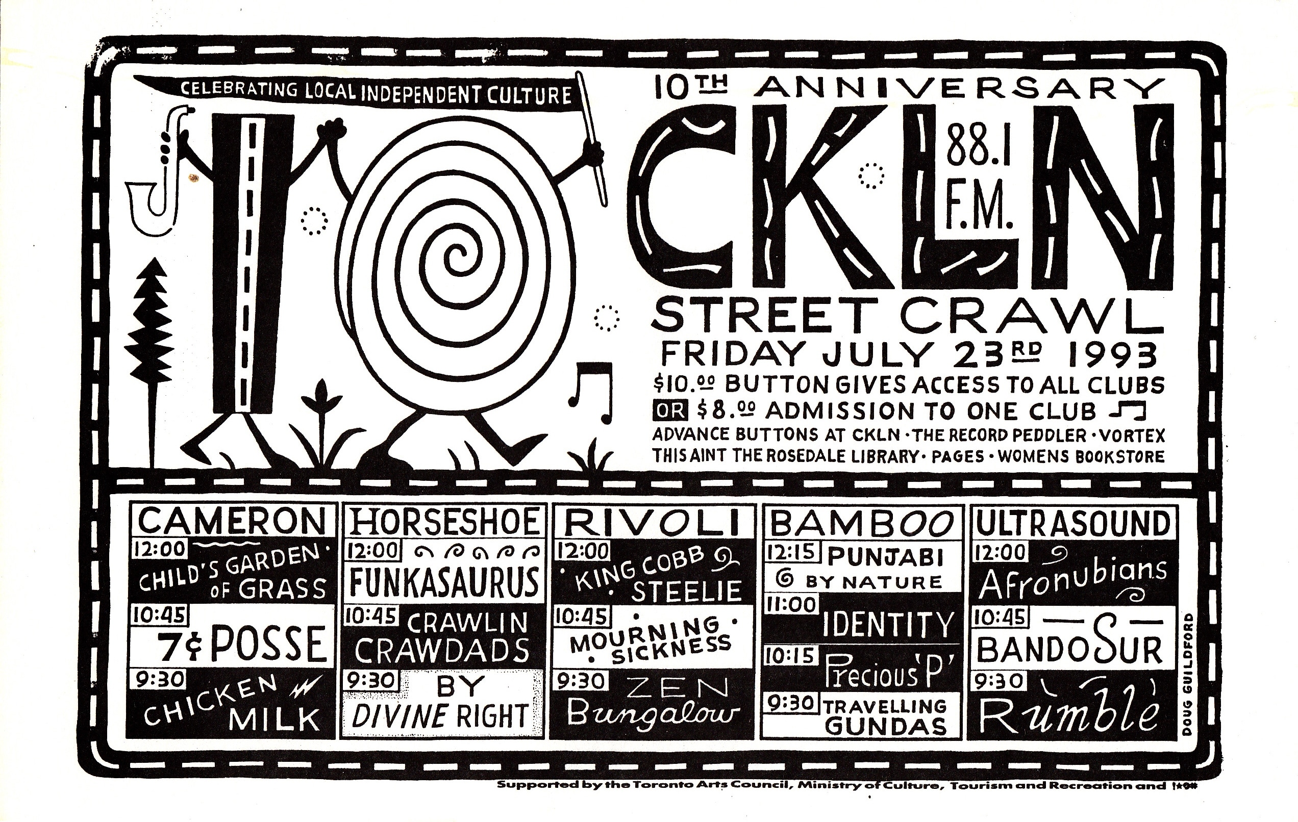 A black and white image of an events calendar featuring upcoming musical acts and when they were scheduled to play.