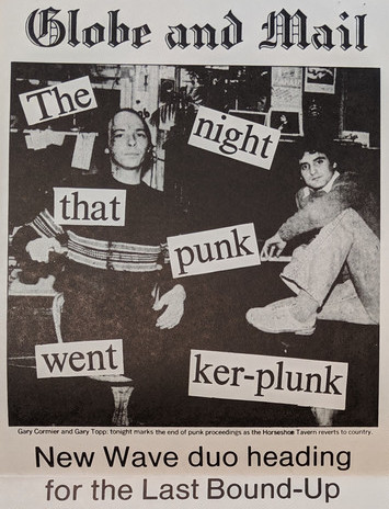 "A Globe and Mail newspaper column titled ""The night that punk were ker-plunk"". The title is layered over a black and white image of two young men, one sitting, one standing"