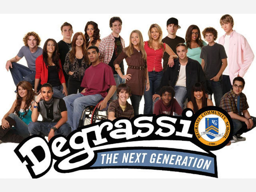 """A colour promotional photograph for the television show """"Degrassi: the Next Generation"""", the title of which is the bottom right-hand portion of the image. The photo features 20 teenagers, a collection of men and women. All are looking at the camera and feature a range of poses, from sitting down to standing up. Most are smiling at the camera."""