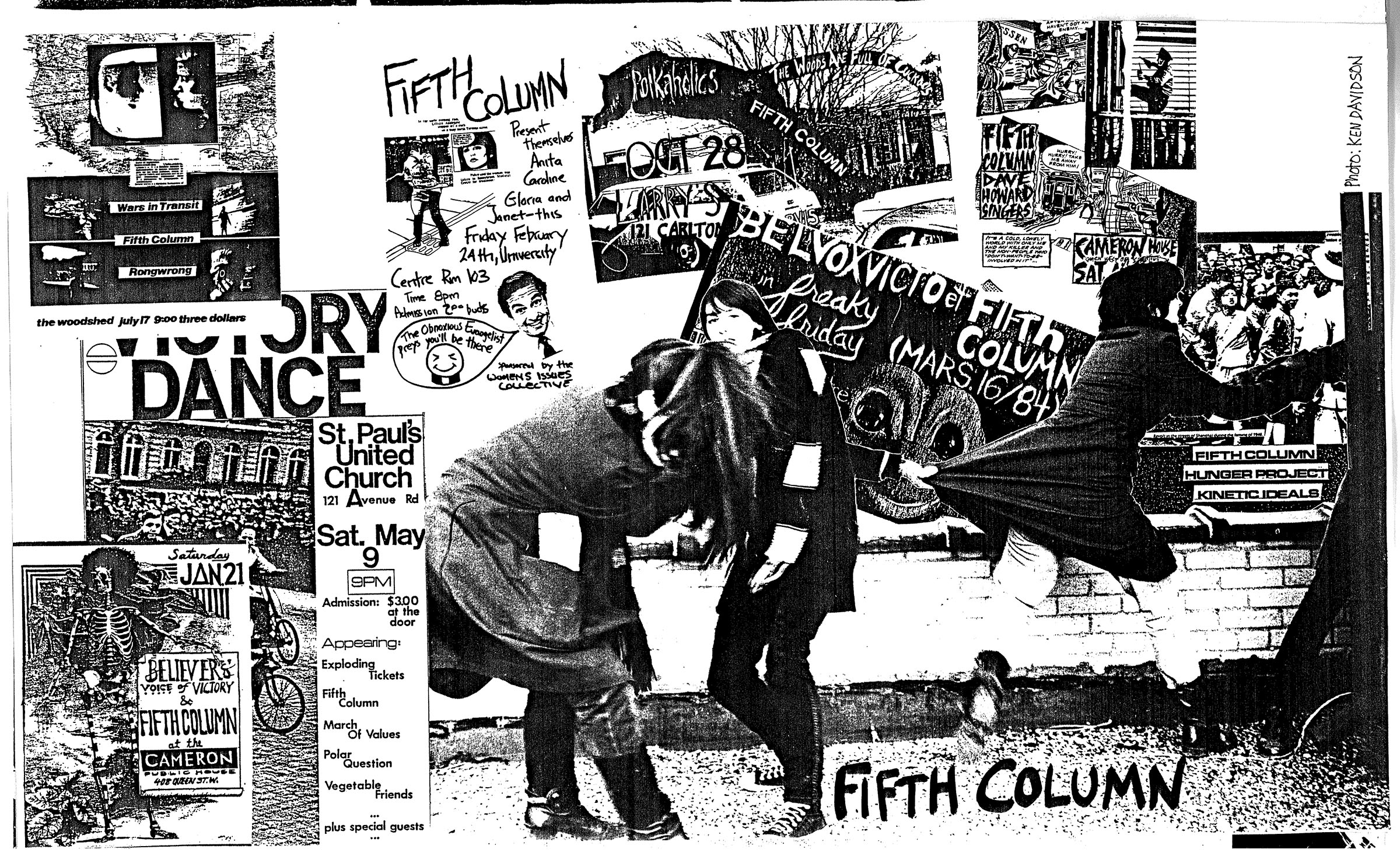 A collage of images displayed in black and white, featuring a range of posters and flyers for Fifth Column and other bands. At the center are two women. The woman on the right is standing, slightly leaning backwards. The woman on the left bends over and holds onto the back of a jacket of another woman who is running away from the two women.