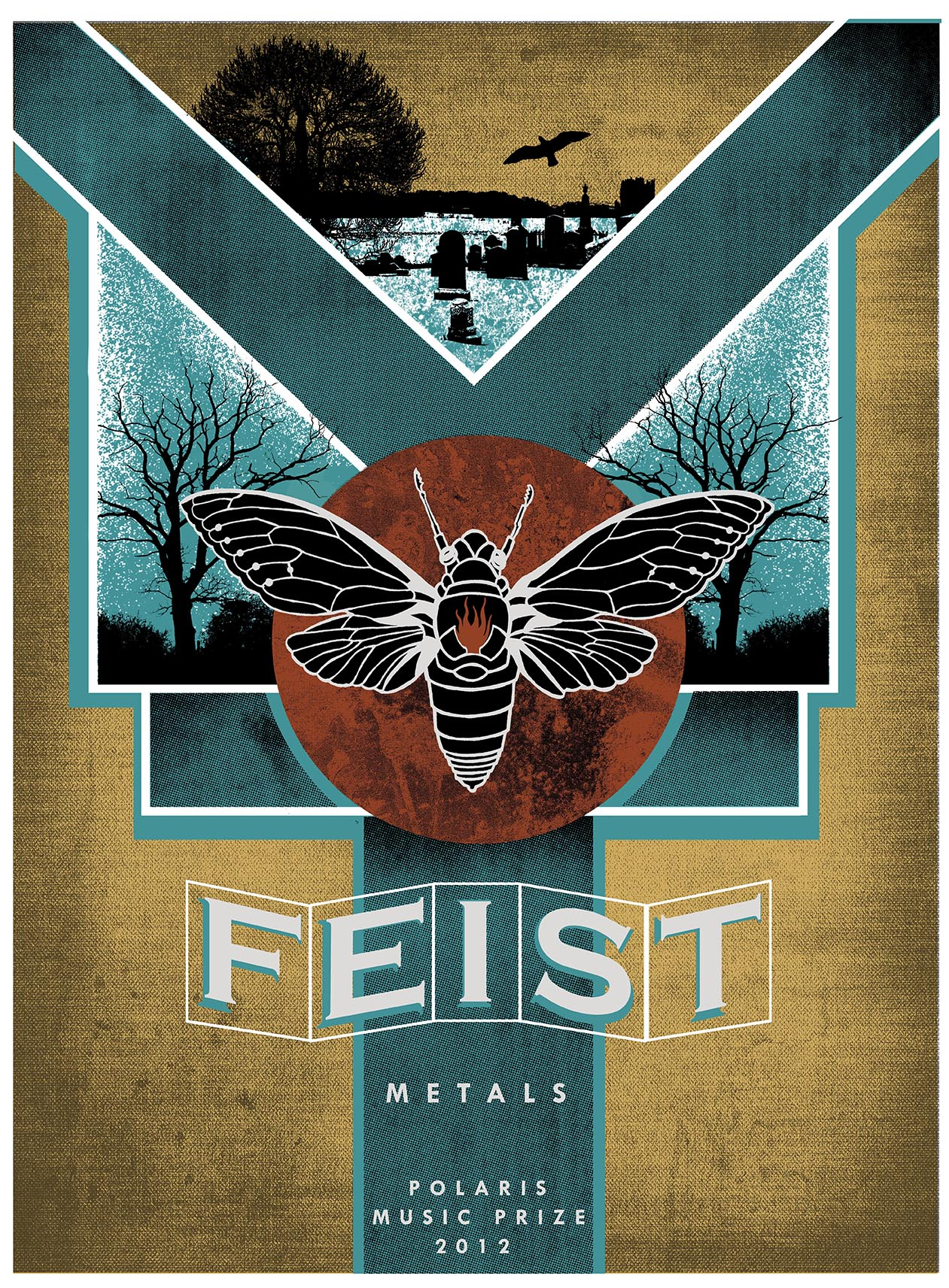 """An illustration of a large insect sits in the middle of the poster on top of a dark red circle. Beneath that are two overlapping squares with a blue background feature black trees. A large Y shape in blue span the height and width of the entire poster. The empty space on the poster is coloured a dark yellow. The word """"Feist"""" is in the bottom middle of the poster, above the word """"Metals""""."""