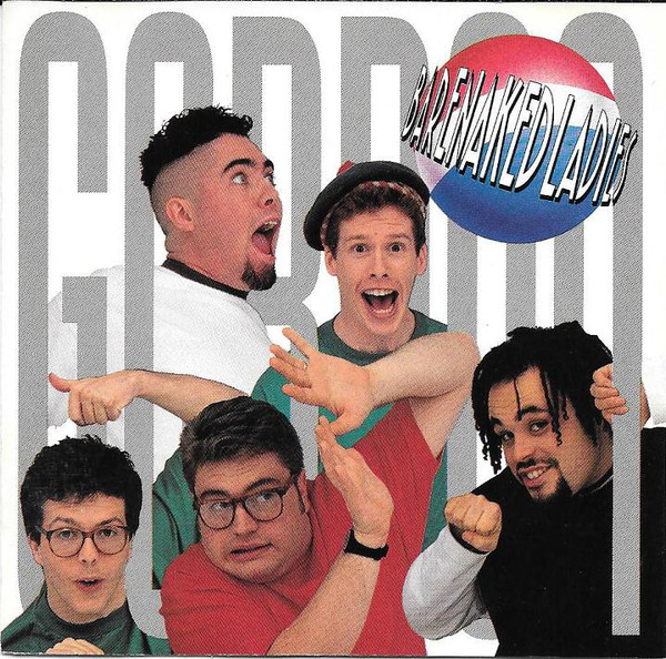 """An album cover with the words """"Gordon"""" written in all capitals in grey that span the length of the cover. In the top right corner, a red and blue-coloured sphere is placed under the words """"Barenaked Ladies"""". In between the letters of Gordon are photos of five men with various expressions."""