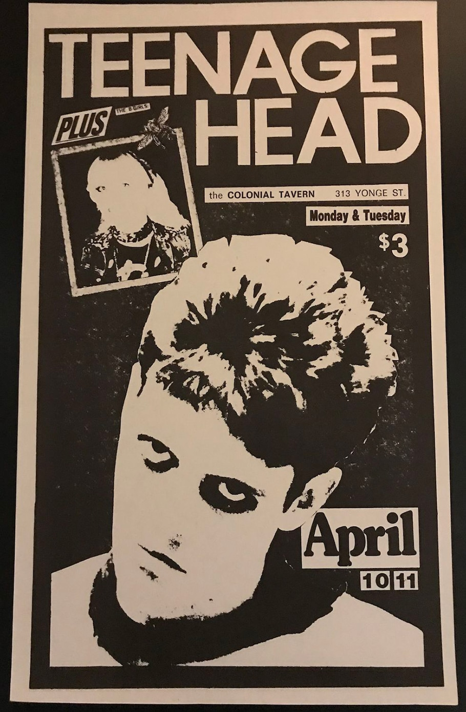 A black and white poster advertising the band Teenage Head at the Colonial Tavern on April 10,11. The majority of the image is taken up by an illustration of a man looking at the camera with an intense, unsmiling expression.