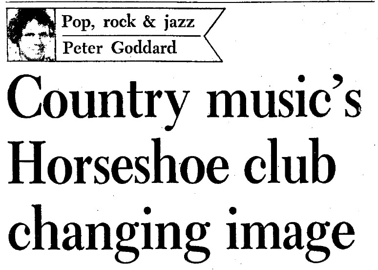 "A headline from a 1978 Toronto Star column which reads ""Country music's Horseshoe club changing image"""