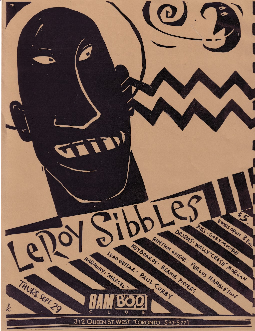 "A brown and black hand-drawn poster for a music performance featuring Leroy Sibbles at the BamBoo Club. The poster features the hand-drawn face of a man's face with his eyes looking to the left. Underneath are the words ""Leroy Sibbles"" as well as details about the performance that alternate with black diagonal stripes."