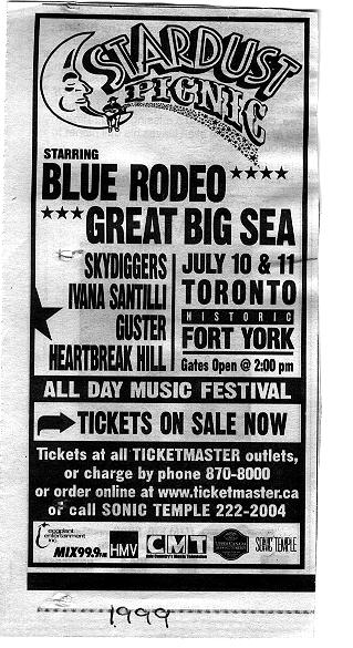 A black and white poster for the Stardust Picnic, starring Blue Rodeo, Great Big Sea, Skydiggers, and others. The Festival is advertised for July 10 and 11 and is promoted as an all day music festival