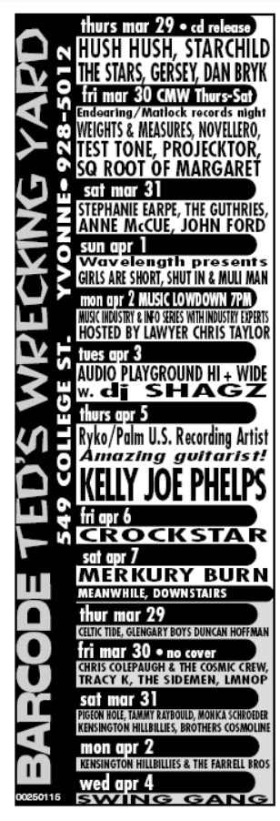A black and white magazine advertisement for Barcode and Ted's Wrecking Yard, the names of which are written horizontally on the left side of the advertisement. The performances are organized according to the day of the week and arranged chronologically from top to bottom.