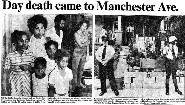 """A newspaper clipping with the headline """"Day death came to Manchester Ave."""" Two pictures are shown side by side. On the left, a woman stands behind four children. Behind the woman stands another man and woman. The right picture shows the front of a house with three police officers standing: two on the sidewalk in front of the house. One on the front porch."""