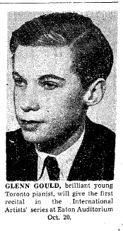 """A black and white newspaper image of a young boy photographed in profile. Under his image are the words """"Glenn Gould, brilliant young Toronto pianist will give the first recital in the International series at Eaton Auditorium, Oct. 20"""""""